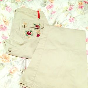 Vintage Cream Embroidered Jeans 5 Pocket Boot Cut